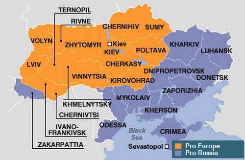 Области Украины и разделение их на про-западные и про-российские согласно данным последних выборов