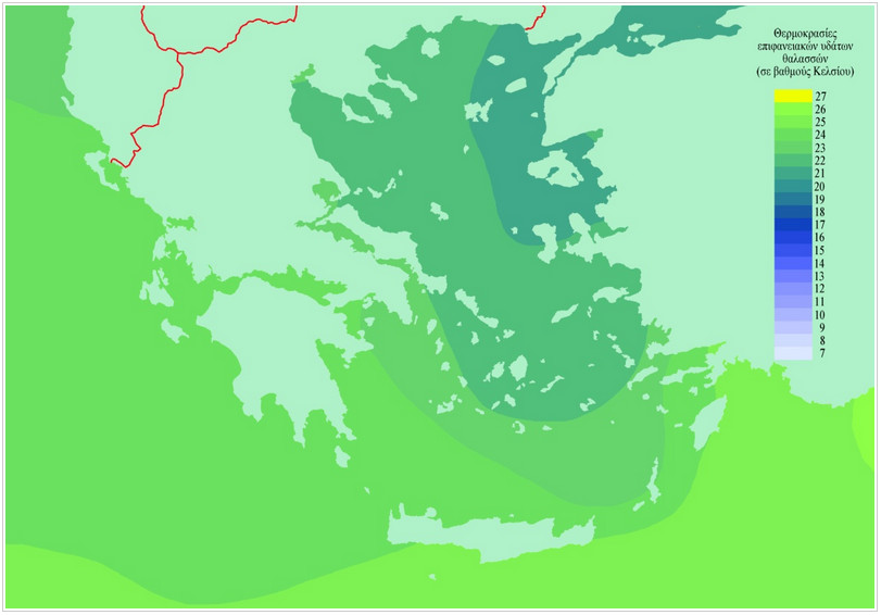 Средние температуры воды в сентябре в Греции