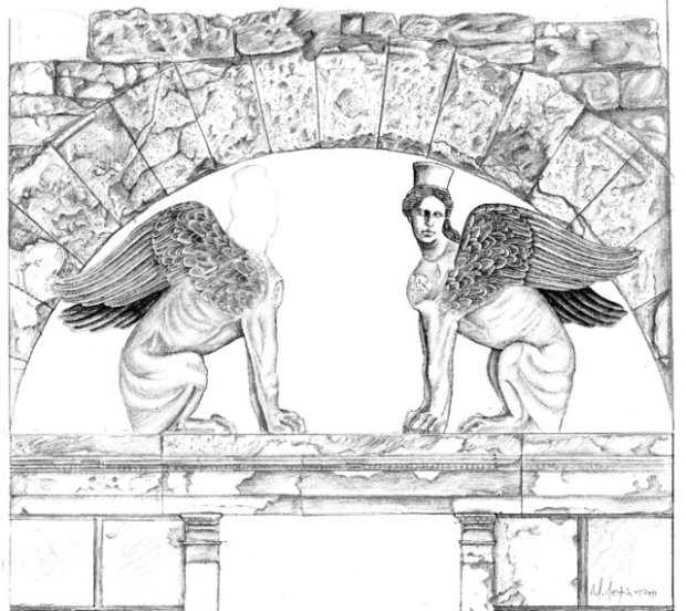 Раскопки в Амфиполе - реконструкция сфинксов