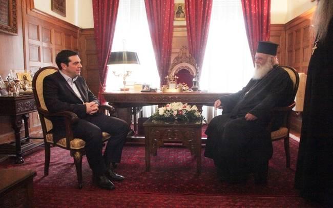 Премьер-министр Греции Алексис Ципрас и  Архиепископ Греции Иеронимос