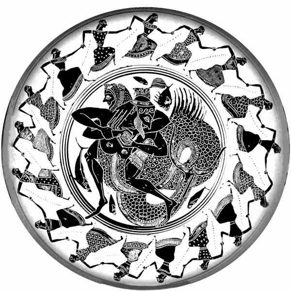 Геракл побеждает Тритона с помощью захвата  меандр (картина на щите, 6 век до н.э.)