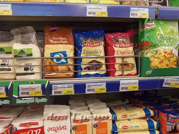 Цены на манную крупу в Греции