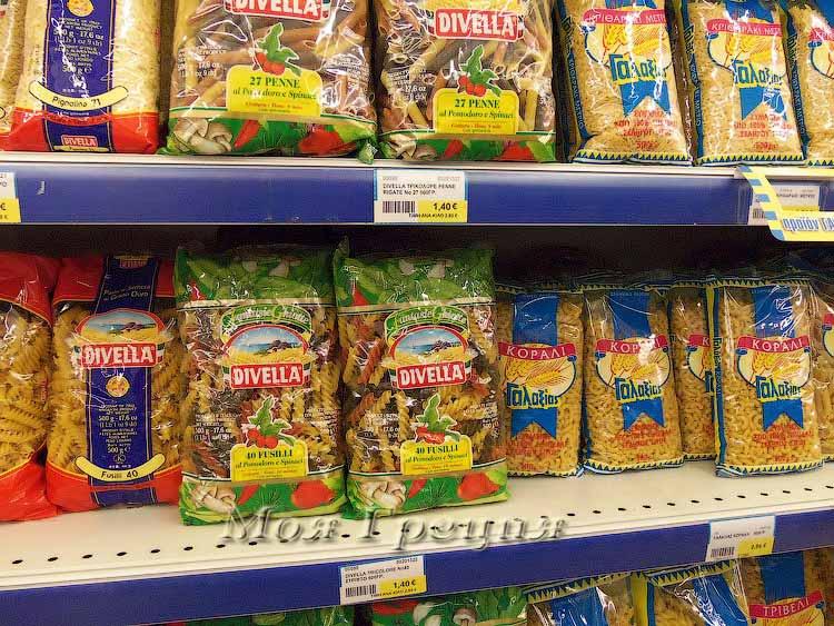 Цены на продукты в Греции 2015  - макароны Дивелли