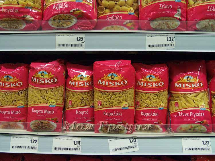 Цены на макаронные изделия в Греции