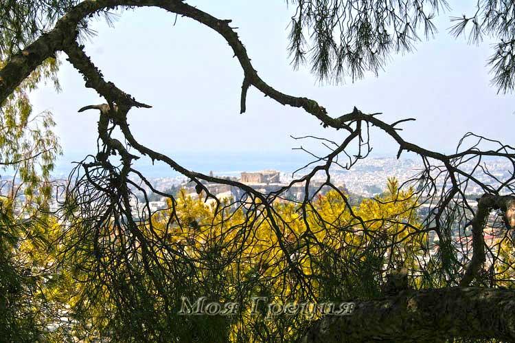Вид на Акрополь с горы Ликавиттос, Афины