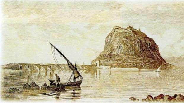 Монемвасия - гравюра V. Lanza, 1865