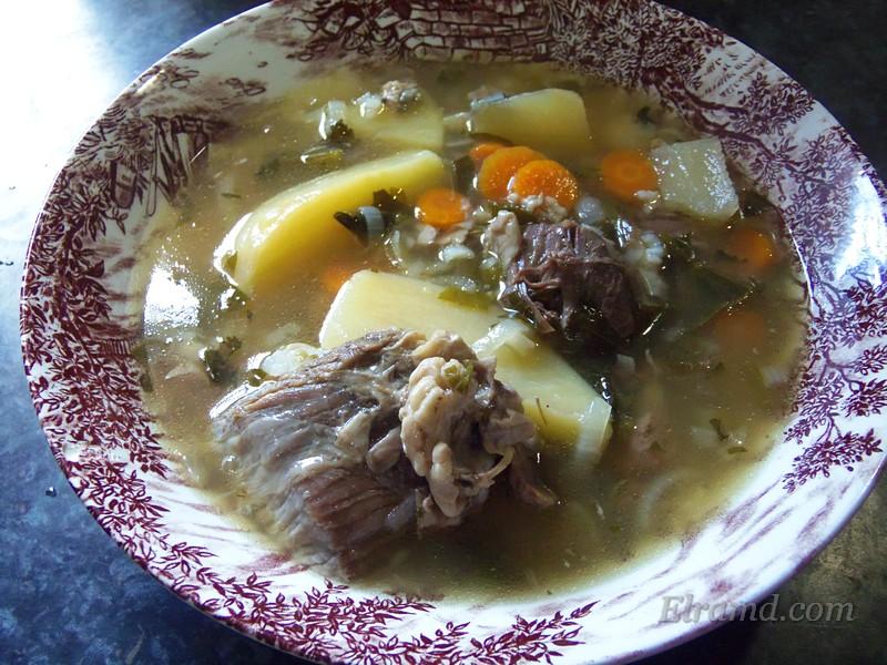 Вкусный суп из козлятины по-гречески