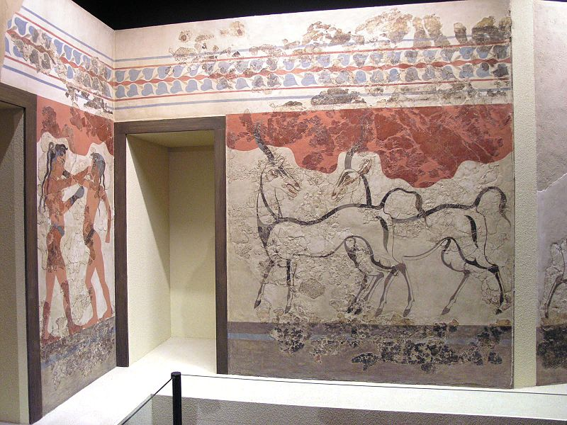 Фрески Акротири в Археологическом Музее Афин