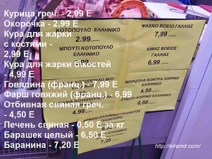 Цены на мясо в Греции 2016