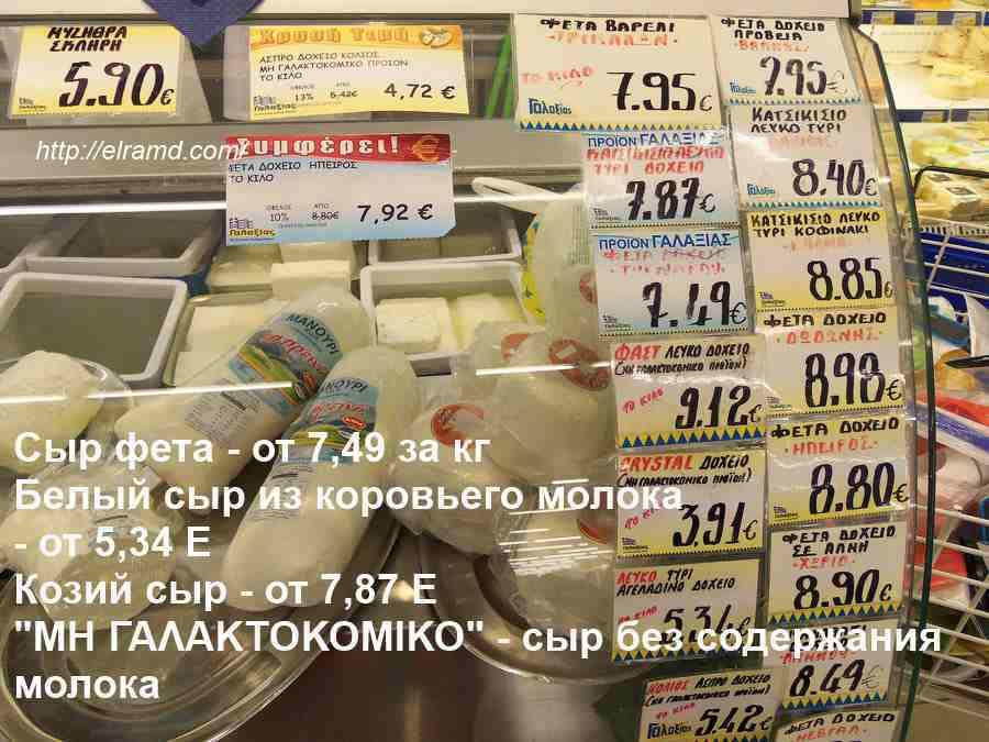 Цены на сыры в Греции 2016
