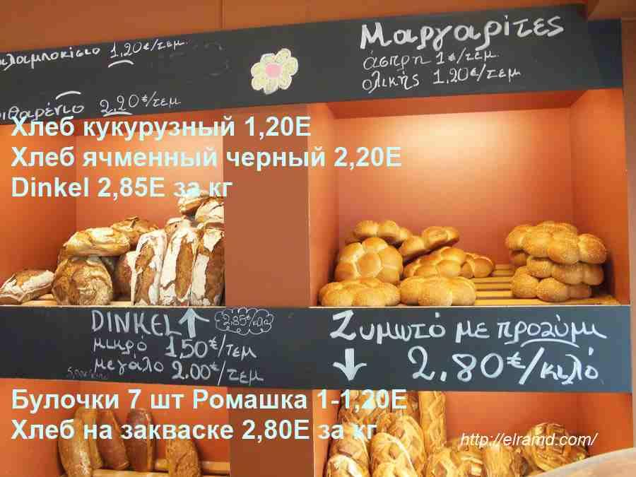 Цены на хлеб в Греции
