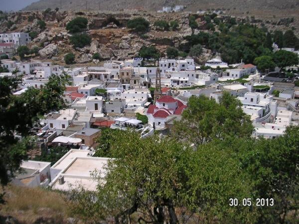 Вид на город Линдос с Акрополя