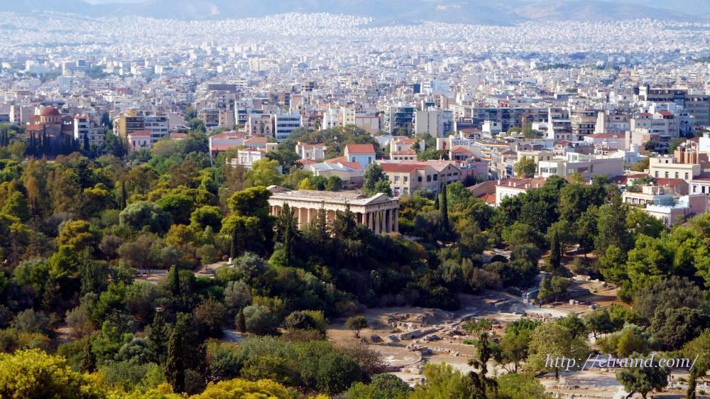 Вид на Афины сверху