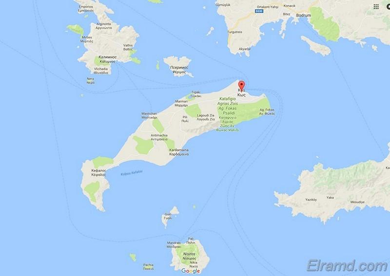 Карта Коса и окрестных островов