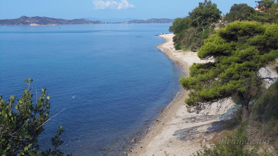 Узкий песчаный пляж рядом с Урануполем