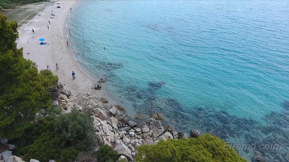 Пляж Акти Ковью вид с воздуха