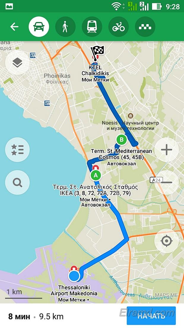 Путь от аэропорта до КТЕЛ Халкидики (А – пересадка)