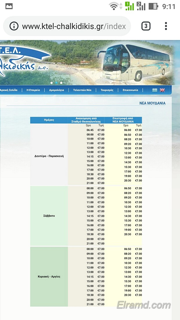 Расписание автобусов Салоники – Неа Муданья