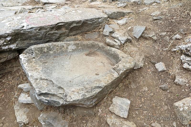 Остатки выдолбленной из камня поилки для скота, по всей видимости.